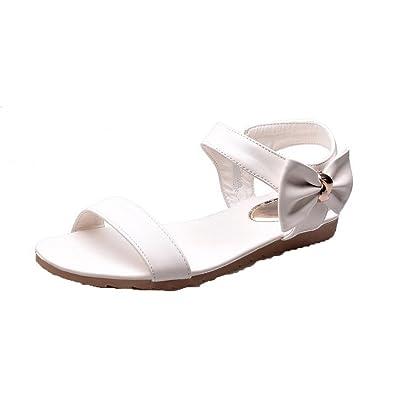AalarDom Mujer Puntera Abierta Mini Tacón Pu Sólido Sandalias de vestir