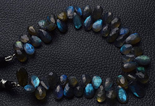 - 1 Strand Natural 8 inch Full Power Blue Fire Labradorite Faceted pear Shape Beads Briolettes 7 to 8.5 MM
