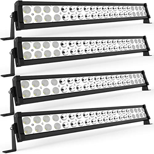 LED Light Bar YITAMOTOR 4 Pack 24 inches 120W Spot Flood Combo LED Work Light Fog Driving Light Off Road Light Bar Compatible for Pickup, Jeep, SKU, ATV, 4x4, Tractor, Truck, Boat, Car (Tractor Light Bar)