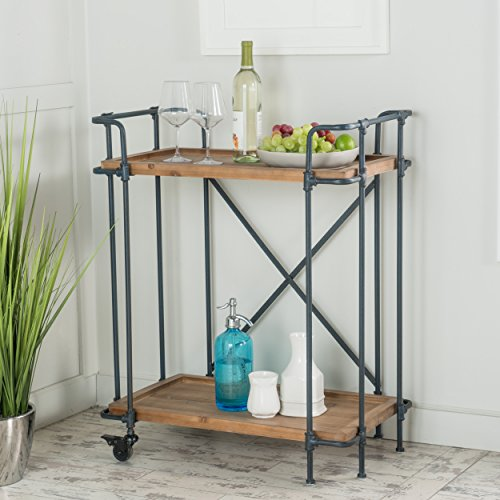 Waldman Antique Finish Fir Wood and Iron Coffee Cart by GDF Studio