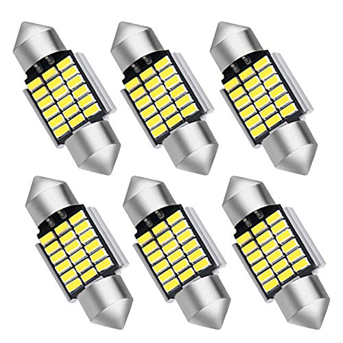 JOJOY LUX Pack of 6 31mm Festoon LED Bulbs DE3175 DE3021 DE3022 as Interior Dome Map Trunk Courtesy Engine Mirror Reading Light, Error Free Canbus Ready LED, 31mm,18-SMD 5730