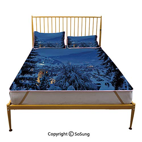 Farm House Decor Creative Queen Size Summer Cool Mat,Winter Pine Trees Forest in European Woodland by The Mountains Nature Print Sleeping & Play Cool - Mattress Pine Bedroom