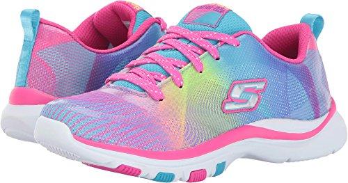 (Skechers Kids Girls' Trainer Lite-Color Dance Sneaker,Multi, 12 M US Little Kid)