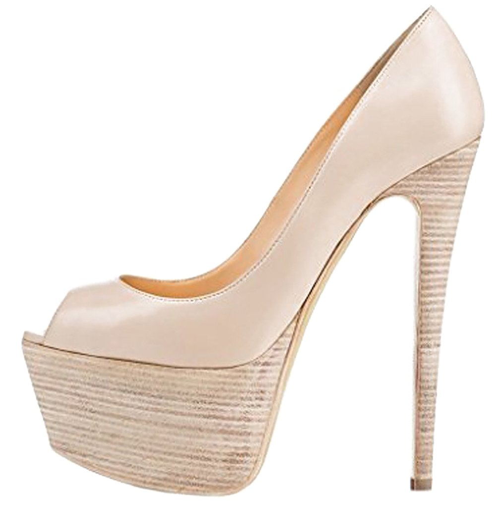 Calaier Mujer Casit Tacón De Aguja 16CM Sintético Ponerse Sandalias de vestir Zapatos 41.5|Hueso