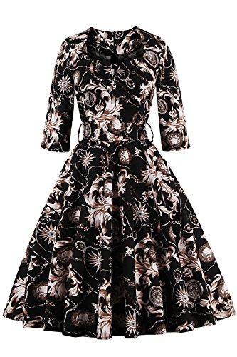 Babyonlinedress Vestido estilo retro de los años 50 estampado floral cuello redondo 3/4 manga espalda cierre negro