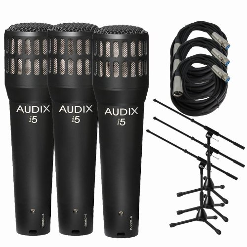 Audix I5 Dynamic Instrument Mic w/ Stands & XLR Cables (3-Pack) (Dynamic Instrument I5)