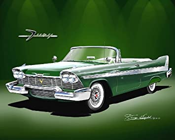 Amazon.com: 1958 Plymouth Fury convertible-ivry Verde – arte ...