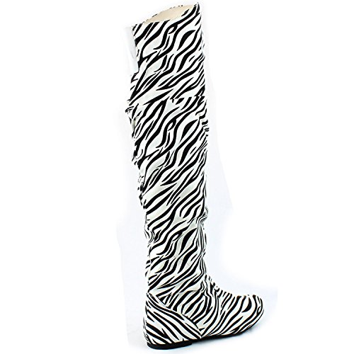 DailyShoes Damenmode-Hi Over-the-Knee Oberschenkel Hohe flache Slouchly Welle Low Heel Stiefel Zebra Sv