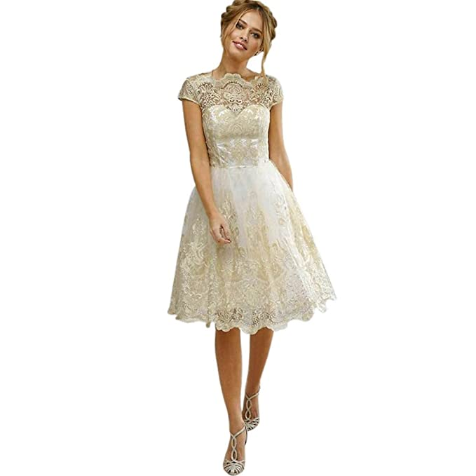 Amazon.com: Littleice Womens Mini Dress Lace Embroidery Prom Formal ...
