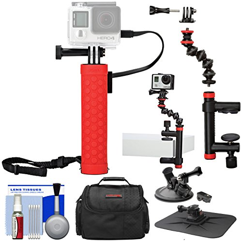 Joby Rechargeable Battery Hand Grip Monopod with Clamp and Arm + Suction Cup Mount + Case Kit for GoPro and Action Cameras