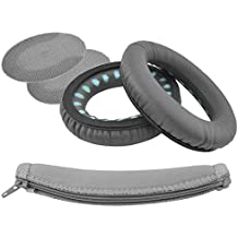 Geekria Earpads and Headband Cover for Bose SoundTrue Around-Ear Style headphones, AE2, AE2i, AE2w Headphone Replacement Ear Pad/Ear Cups/Cushion/Earpads Repair Parts (Dark Gray)