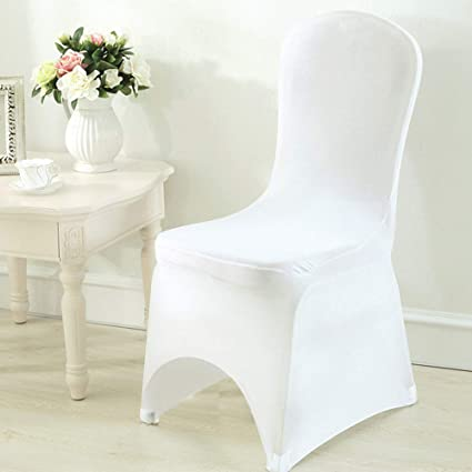 Pleasing Unho 50Pcs White Spandex Chair Cover Lycra Folding Stretchable Protector Slipcovers Wedding Party Banquet Dining Decoration Arched Front Caraccident5 Cool Chair Designs And Ideas Caraccident5Info