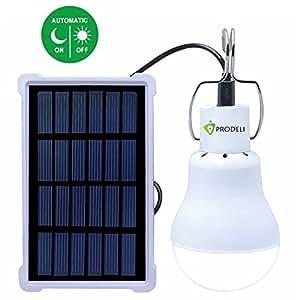 Light Sensor Solar Bulb for Outdoor, PRODELI Portable LED