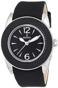 Festina F16592/6 - Reloj analógico de cuarzo para mujer con correa de piel, color negro