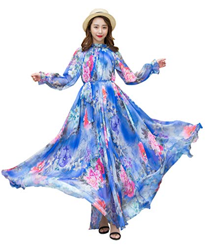 Medeshe Women's Long Sleeve Floral Holiday Beach Bridesmaid Maxi Dress Sundress (Blue Peony Flowers, XL/XXL) (Peonies Hawaii)