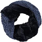 Sakkas 16106 - Dalien Short Length Two Sided Faux Fur Ribbed Cable Knit Infinity Scarf - Blue - OS