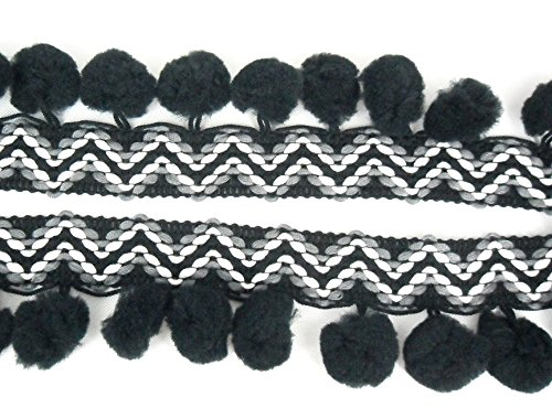 ZigZag Black Pom Pom Fringe Lace Dangle Trim Fluff Puff Bobble Ball Embroidered Sewing DIY Craft Supply - Puff Fringe