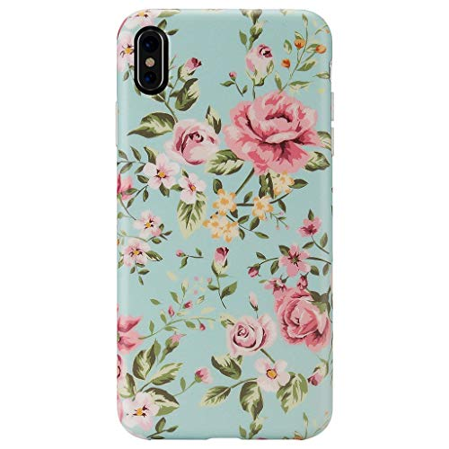 iPhone Xs MAX Case,GOLINK Matte Finish Floral Series Slim-Fit Ultra-Thin Anti-Scratch Shock Proof Dust Proof Anti-Finger Print TPU Gel Case for iPhone Xs MAX 6.5 inch(Elegant - Floral Finish