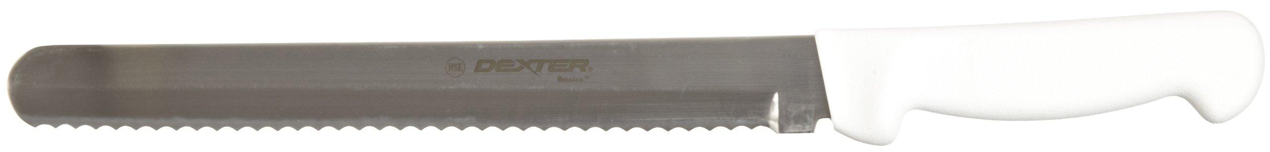 Basics P94804 10'' White Scalloped Slicer with Polypropylene Handle