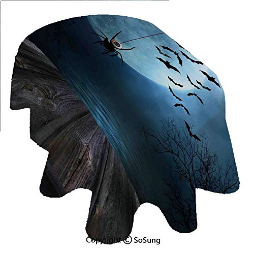 Halloween Decorations Oval Polyester Tablecloth,Misty Lake Scene Rusty Wooden Deck Spider Eyeball and Bats Moonlight,Dining Room Kitchen Oval Table Cover, 60 x 120 inches,Blue Brown]()