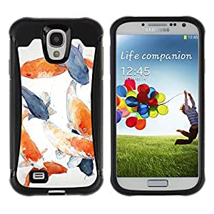 WAWU Funda Carcasa Bumper con Absorci??e Impactos y Anti-Ara??s Espalda Slim Rugged Armor -- goldfish fish white blue orange grey -- Samsung Galaxy S4 I9500