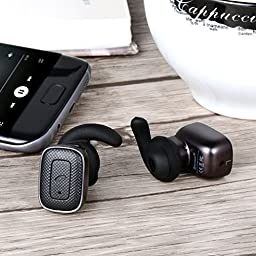 Amoner True Wireless Earbuds, Bluetooth V4.1 Sports Stereo In-ear Headphones with Mic for iPhone, Samsung, Android Smartphones