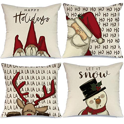 AENEY Christmas Decorations Pillow Covers 18×18 Set of 4, Gnome Santa Deer Snowman Rustic Winter Holiday Throw Pillows…