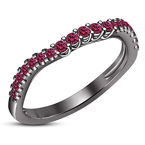 (TVS-JEWELS Lab Created Pink Sapphire Band Ring With Black Rhodium Plated Sterling Silver (10.25))