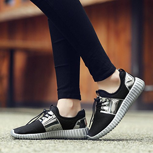 HLHN Unisex Running Shoes,Women Men Gym Patchwork Lace-up Cross Strap Sport Mesh Round Toe Breathable Casual Fashion Sliver