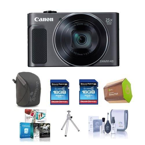 Canon PowerShot sx620 HSデジタルカメラ、ブラック – Bundle withカメラケース、2 x 16 GB SDHCカード、スペアバッテリ、テーブルトップ三脚、クリーニングキット、ソフトウェアパッケージ   B01LWYOXD2