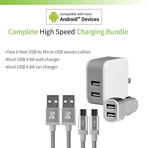 Ubio Labs (2-Pack) 6ft Tangle-Free Micro USB Cable kit for Android, Samsung, HTC, LG, Motorola. 6 Foot Long Woven Charge/sync Cord with Dual USB Wall and car Charger. 2.4A /4.8A (24W)