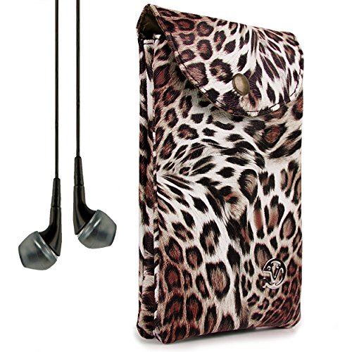 VanGoddy Women's Brown Leopard Carrying Bag Case for ZTE Grand X Max+ / Imperial II / S Pro / Speed + VanGoddy Headphones