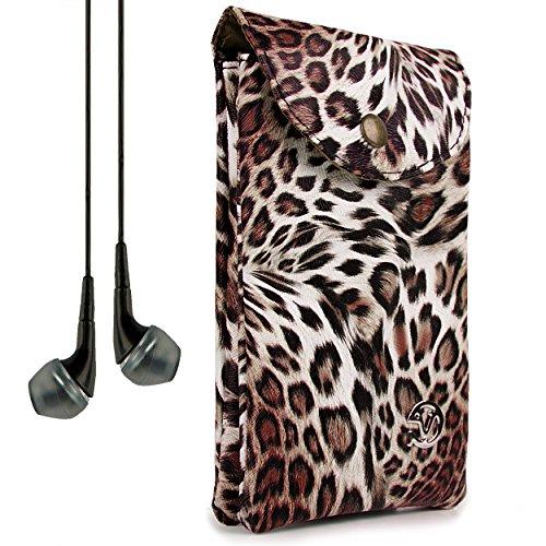 VanGoddy Women's Brown Leopard Carrying Bag Case for ZTE Grand X Max+ / Imperial II / S Pro / Speed + VanGoddy Headphones