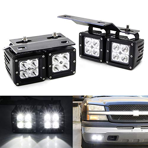 iJDMTOY Dual LED Pod Fog Lamp Kit For 2002-06 Chevy Avalanche, 03-07 Silverado 2500 3500, Includes (4) 20W High Power CREE LED Cubes, Foglight Location Mounting Brackets & On/Off Switch - Grille Out Logo Cut