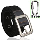 Canvas Belt Woven Webbing Cotton Belt for Men and Women Jeans Free Locking Carabiner