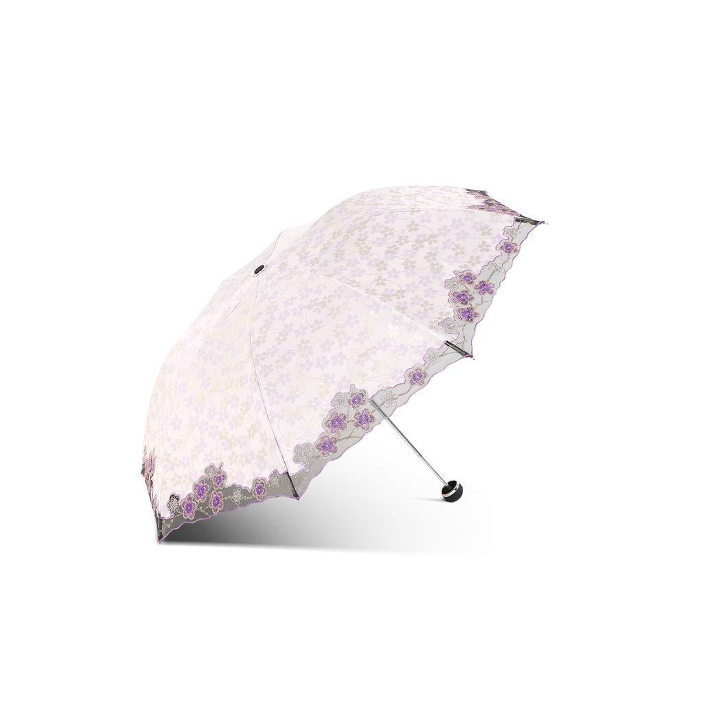 レース 刺繍 折りたたみ日傘雨 日焼け防止 折りたたみ晴れ 日雨兼用傘 4色 オプション W-94 (Purple) B07SX4R33S Purple