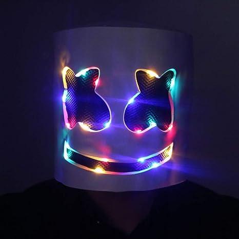 Disco Dj Casco Máscara de fiesta con mascarada Led Máscara de rol ...