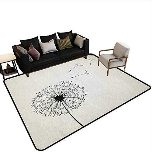 - Transparent Printed Doormat Dandelion,Flying Flower Seeds and Blossom Fragility and Growth Inspired by Nature, Black and Beige
