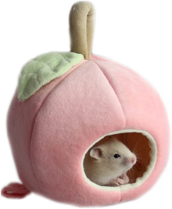 Mummumi Small Animals House Small Pet Hamster Hanging Bed House Hammock Cute Furit Winter Warm Fleece Guinea Pig Hedgehog Chinchilla Bed House Cage Nest Hamster Accessories