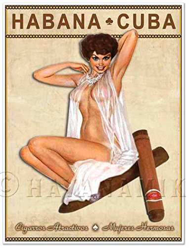 (CUBAN CIGAR Art Print - Vintage Style PINUP GIRL in Lingerie Art Print Poster - measures 24