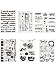 Kesoto 6 Sheets Silicone Transparent Stamps Set Assorted Patterns Clear Stamp Cutting Stencils for Scrapbooking Cards DIY Tools Photo Album Decoration