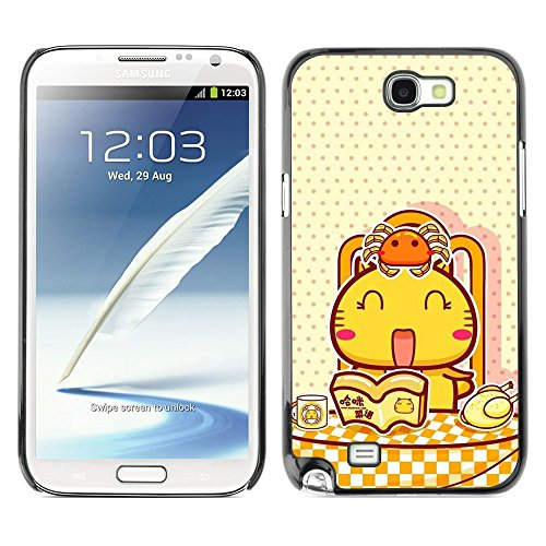 Soft Silicone Rubber Case Hard Cover Protective Accessory Compatible with SAMSUNG GALAXY NOTE 2 & N7100 - Cute Happy Cat Breakfast
