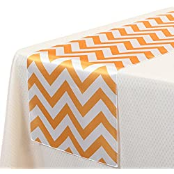 VEEYOO 14x108 Inch Satin Chevron Wedding Party Table Runner Cloth Cover Orange