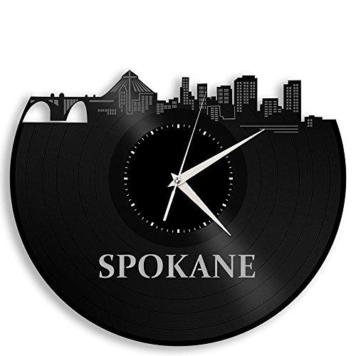 VinylShopUS – Spokane Vinyl Wall Clock Cityscape Travel Souvenir For Sale