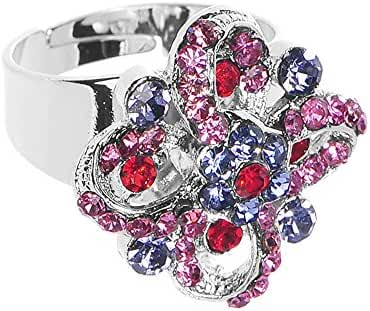Dazzling Impressions Flower Adjustable Ring