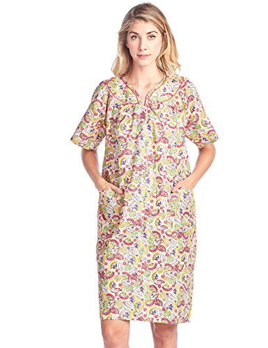 (Casual Nights Women's Floral Woven Snap-Front Lounger House Dress - Peach - Medium)