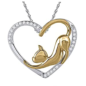 Tender Voices 1/10cttw Diamond Cat Heart Pendant in Sterling Silver with Yellow Gold Plate