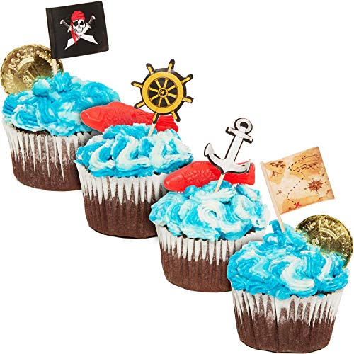 Pirate Cupcake Toppers - 200-Pack Cupcake Decoration, Pirate Themed Party Supplies, Pirate Flag Toothpicks, Treasure Map, Anchor, Ship Wheel Cake Picks, 1.2 x 3 Inches -