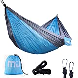 MIU COLOR Lightweight Camping Hammock Portable Parachute Nylon Hammock with Hammock Tree Straps Carabiners and for Backpacking, travel, Travel, Beach, Yard - Blue