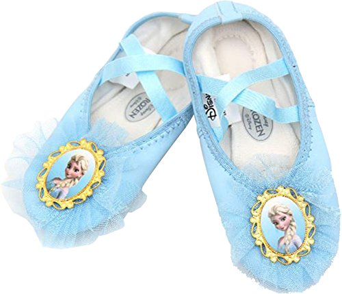Disney Frozen Girl's Blue Ballet Flat Dance Shoes Runs Small (Parallel Import/Generic Product) (12 M US Little Kid, - Shipping International Usps Price